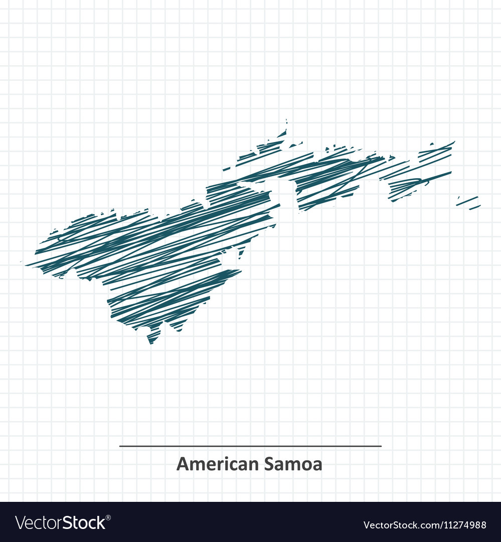 Doodle Sketch Of American Samoa Map Royalty Free Vector - Samoa map vector