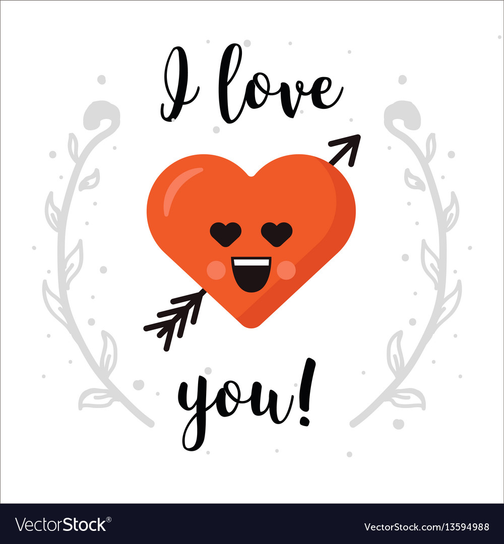 I love you heart emoticon isolated with vector image