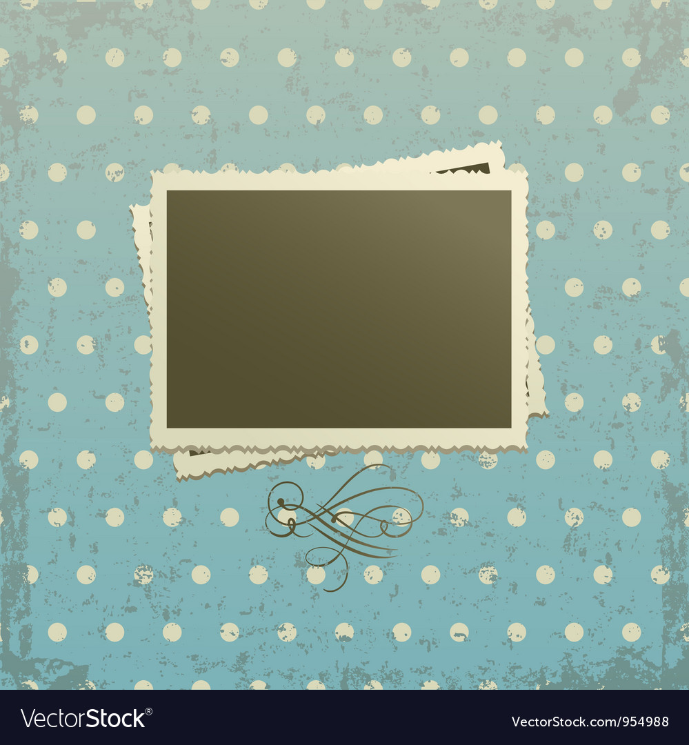 Photo frame on retro background vector image