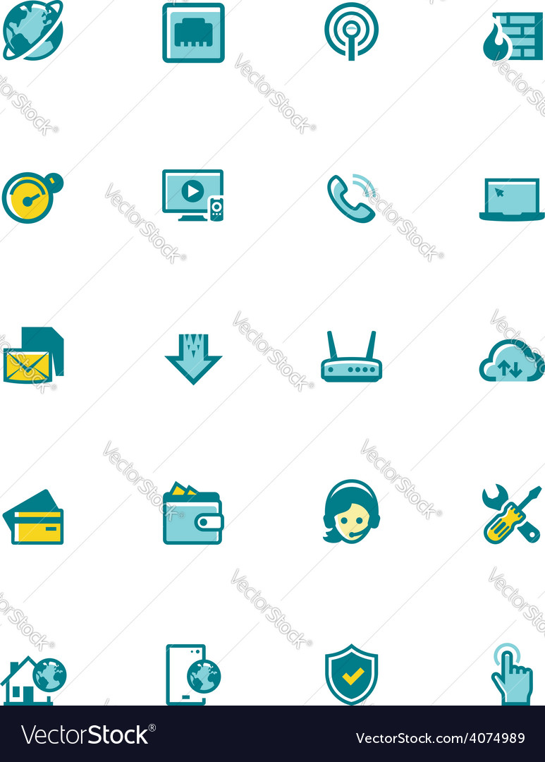 Internet service provider icon set vector image