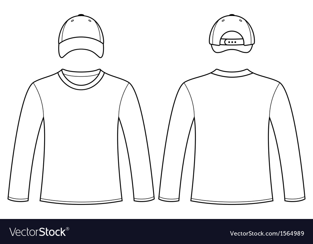 long sleeved t shirt and cap template royalty free vector. Black Bedroom Furniture Sets. Home Design Ideas