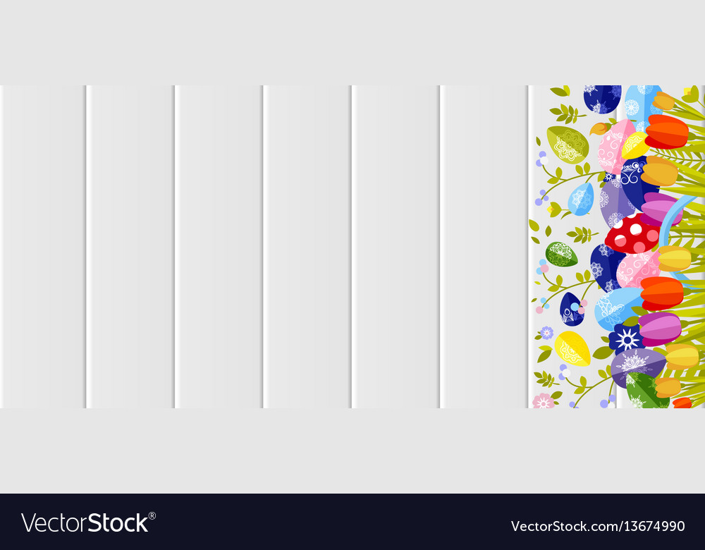 Happy easter background colored eggs spring vector image