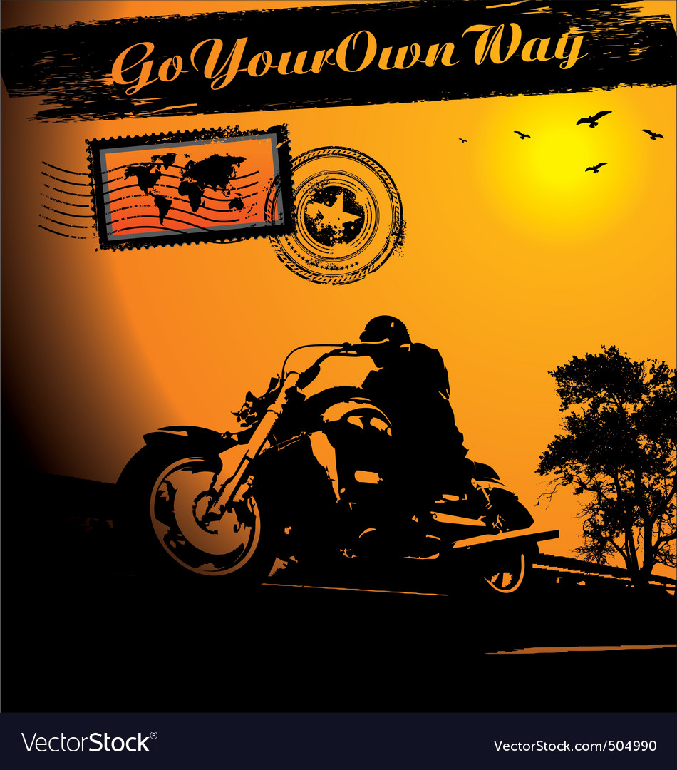 Motorcycle rider background vector image