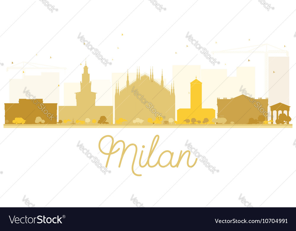 Milan City skyline golden silhouette vector image
