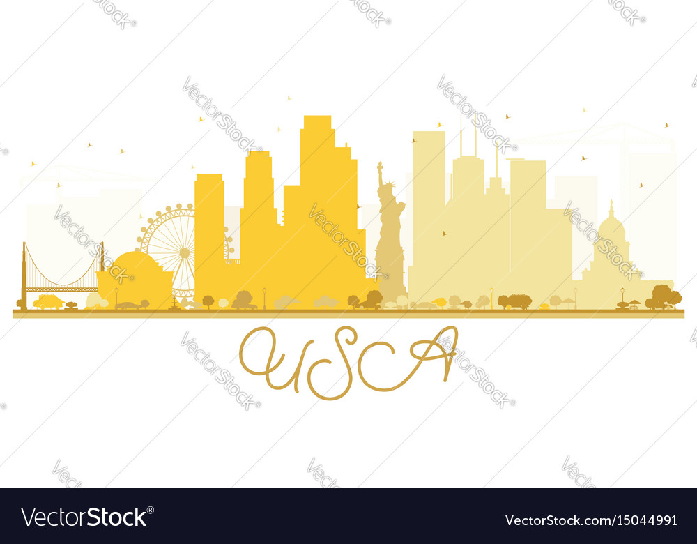 Usa city skyline golden silhouette vector image