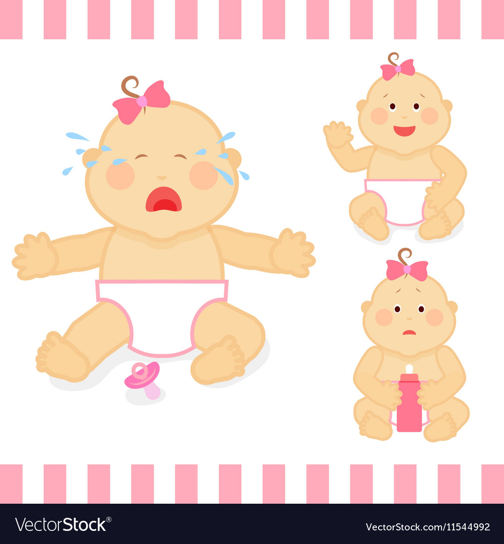 Cute cartoon small pink baby girl vector image