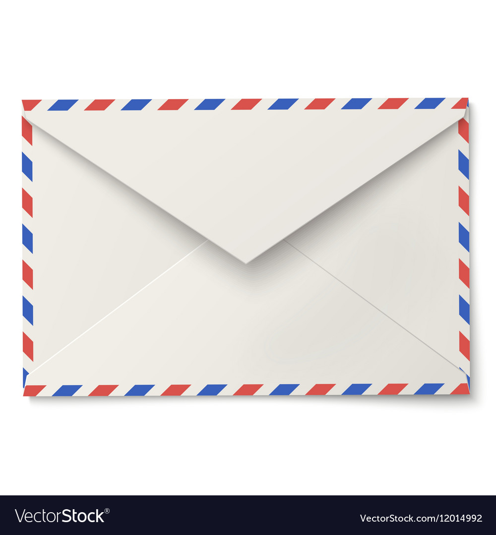 Sealed air mail white envelope isolated on white vector image