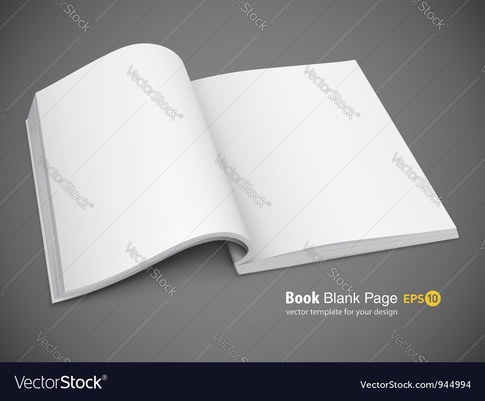 Open spread of book with vector image