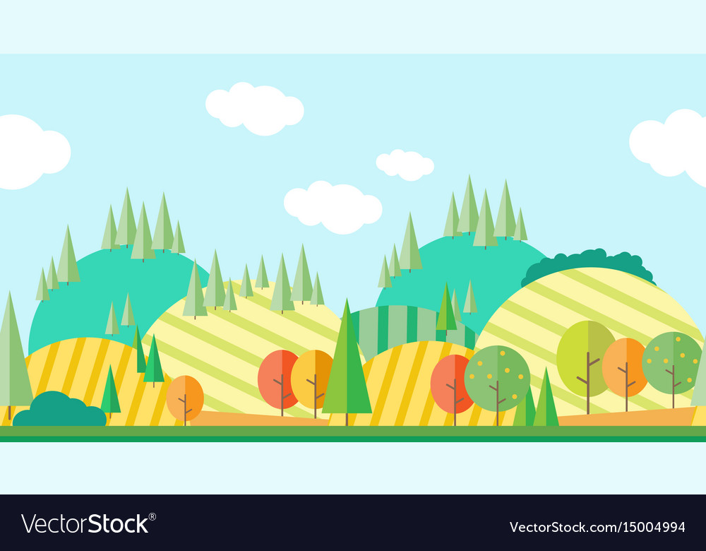 Seamless horizontal autumn landscape vector image