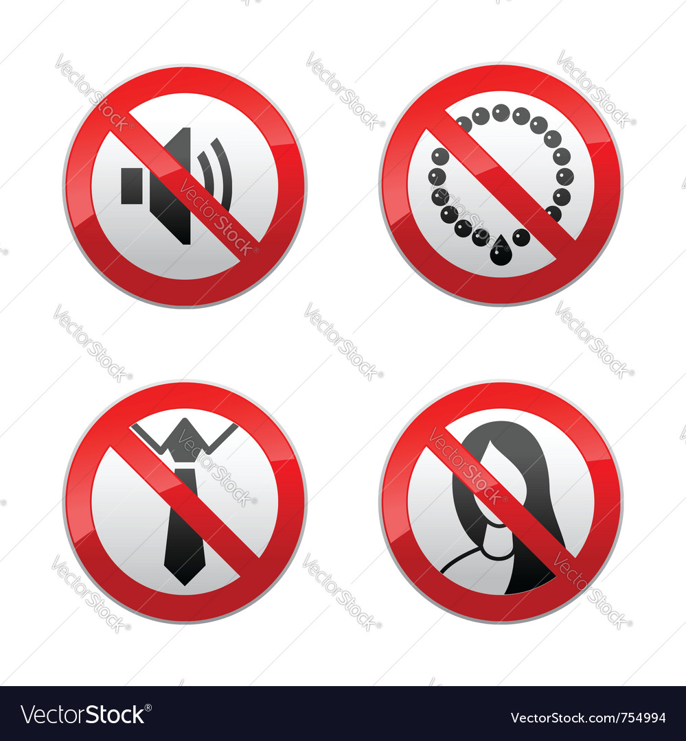Set prohibited signs - office vector image