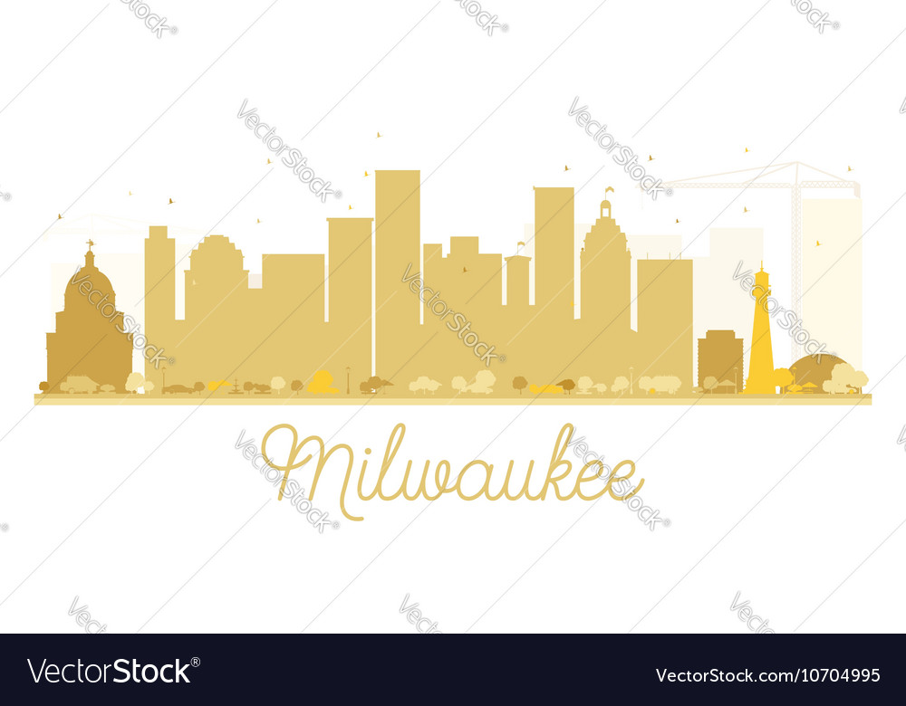 Milwaukee City skyline golden silhouette vector image