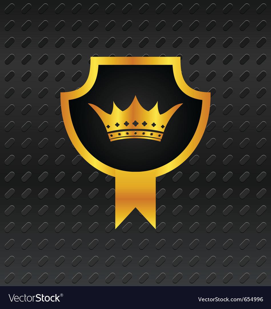 Heraldic shield on titanium background - Vector Image