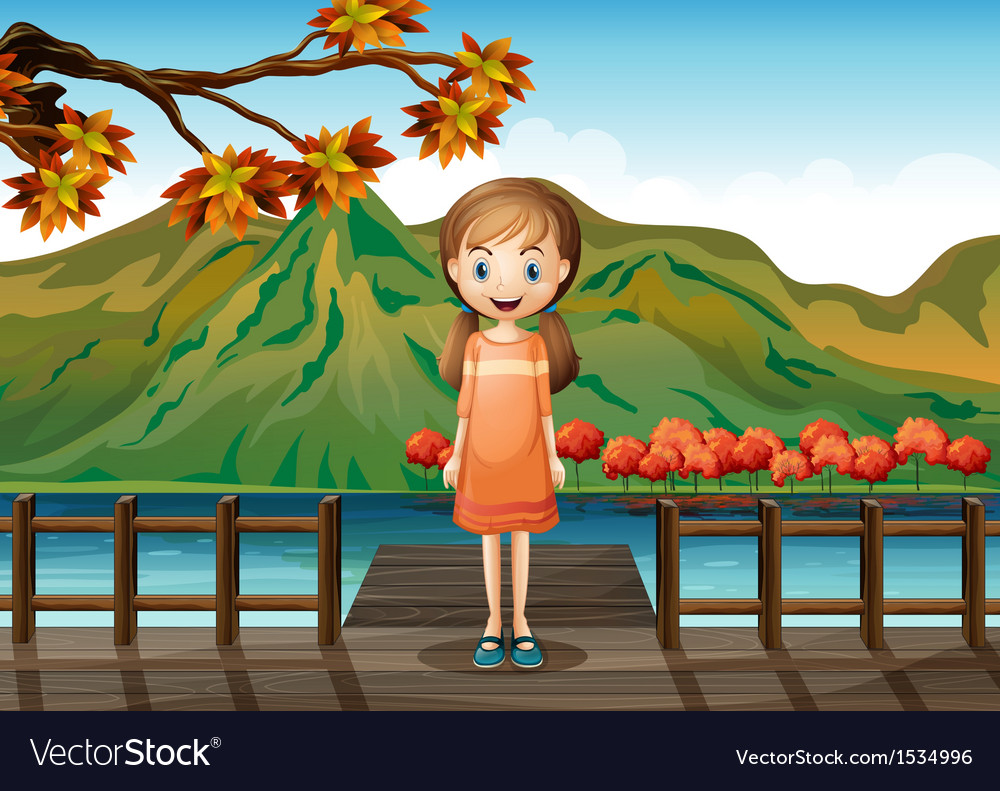 A young girl standing in the middle of the wooden vector image