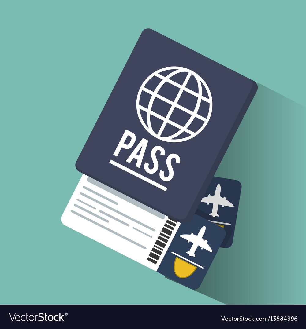 Passport tickets airline vacation vector image