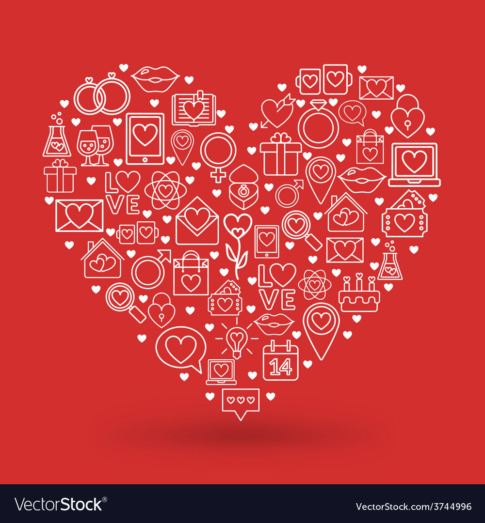 St Valentines Day card design Heart made of love vector image