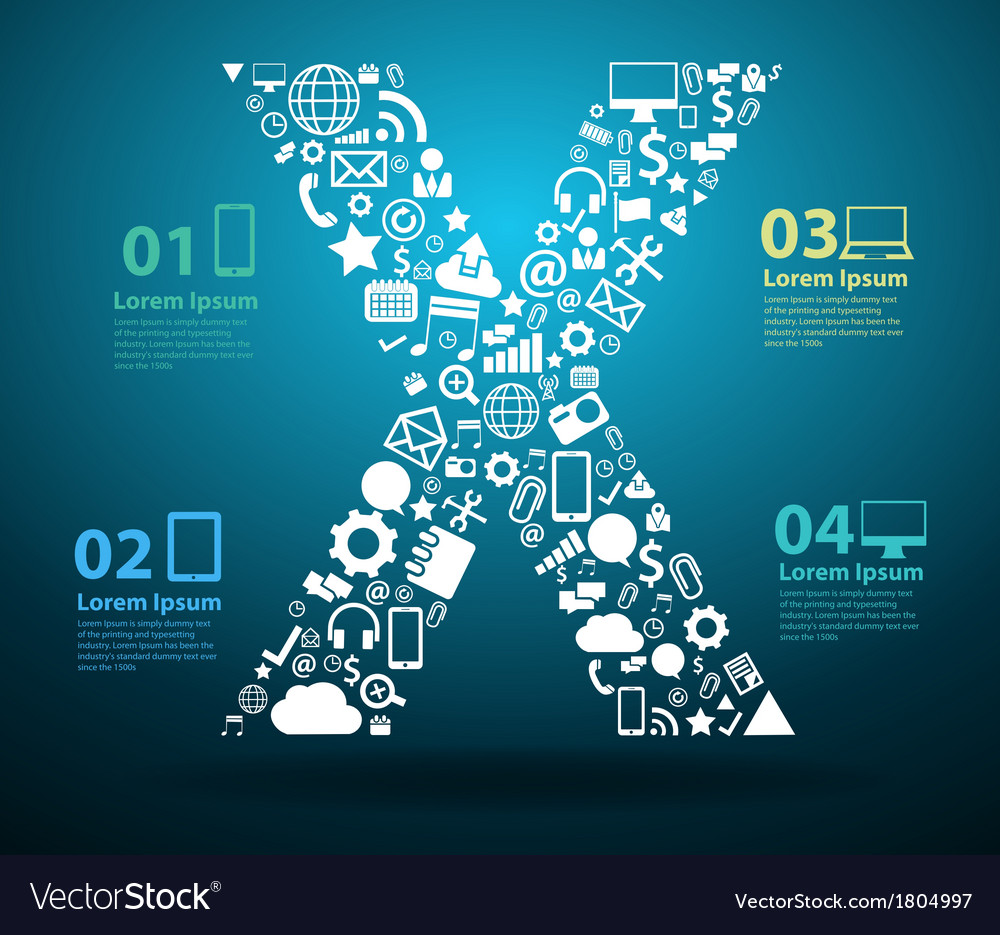 Application icons alphabet letters X design vector image