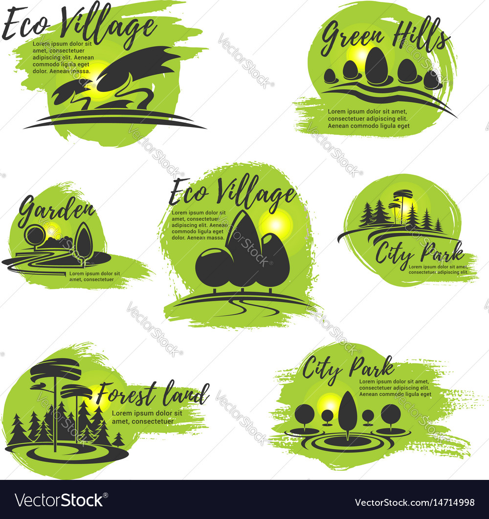 Icons for eco park and gardening company vector image