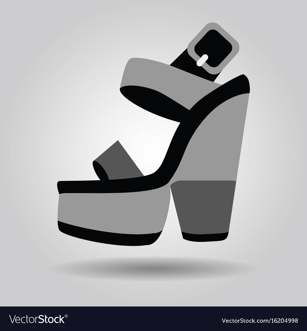 Single platform high heel shoe with thick heels vector image