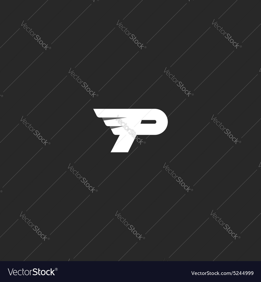 Letter P logo mockup modern business card flying Vector Image
