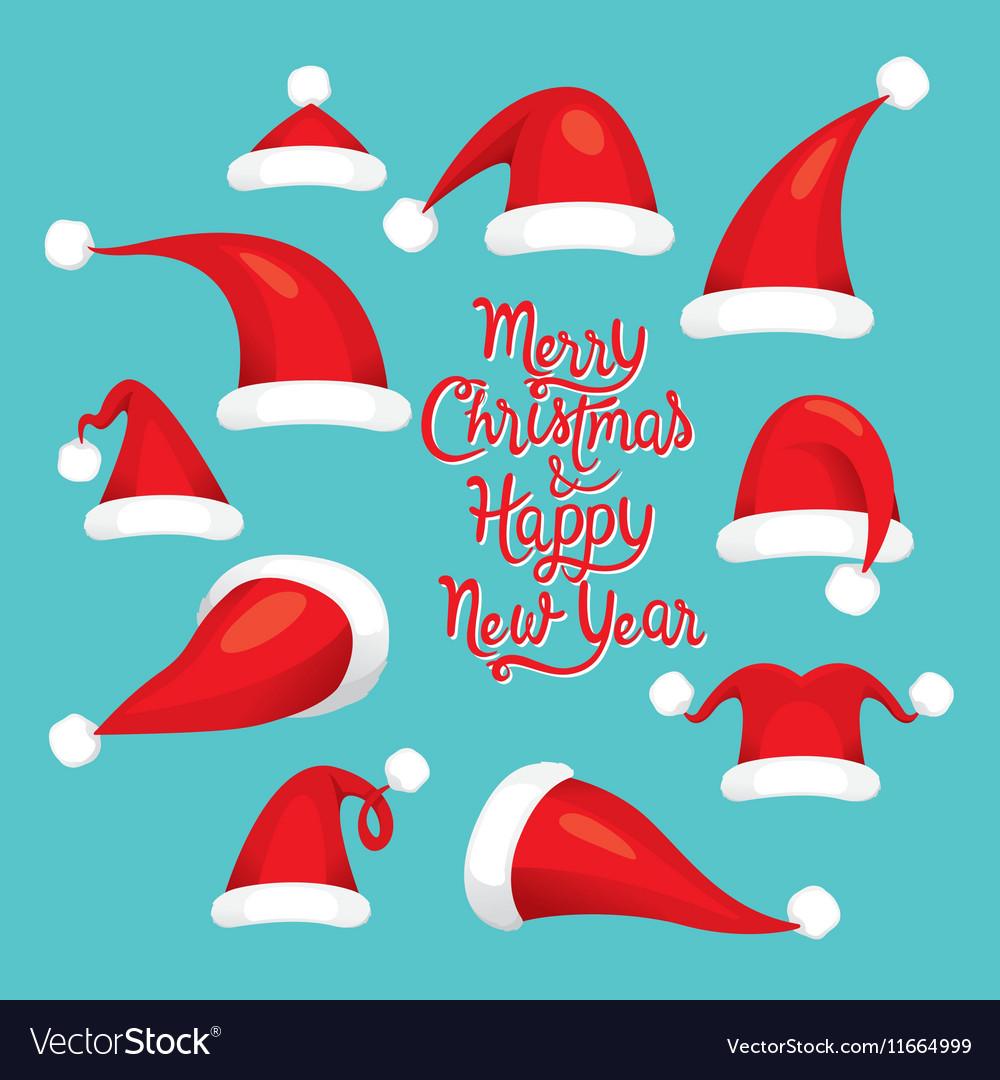Santa Claus Red Hat Set Christmas Clothes Element vector image