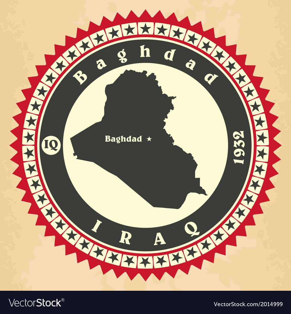 Vintage label-sticker cards of Iraq vector image