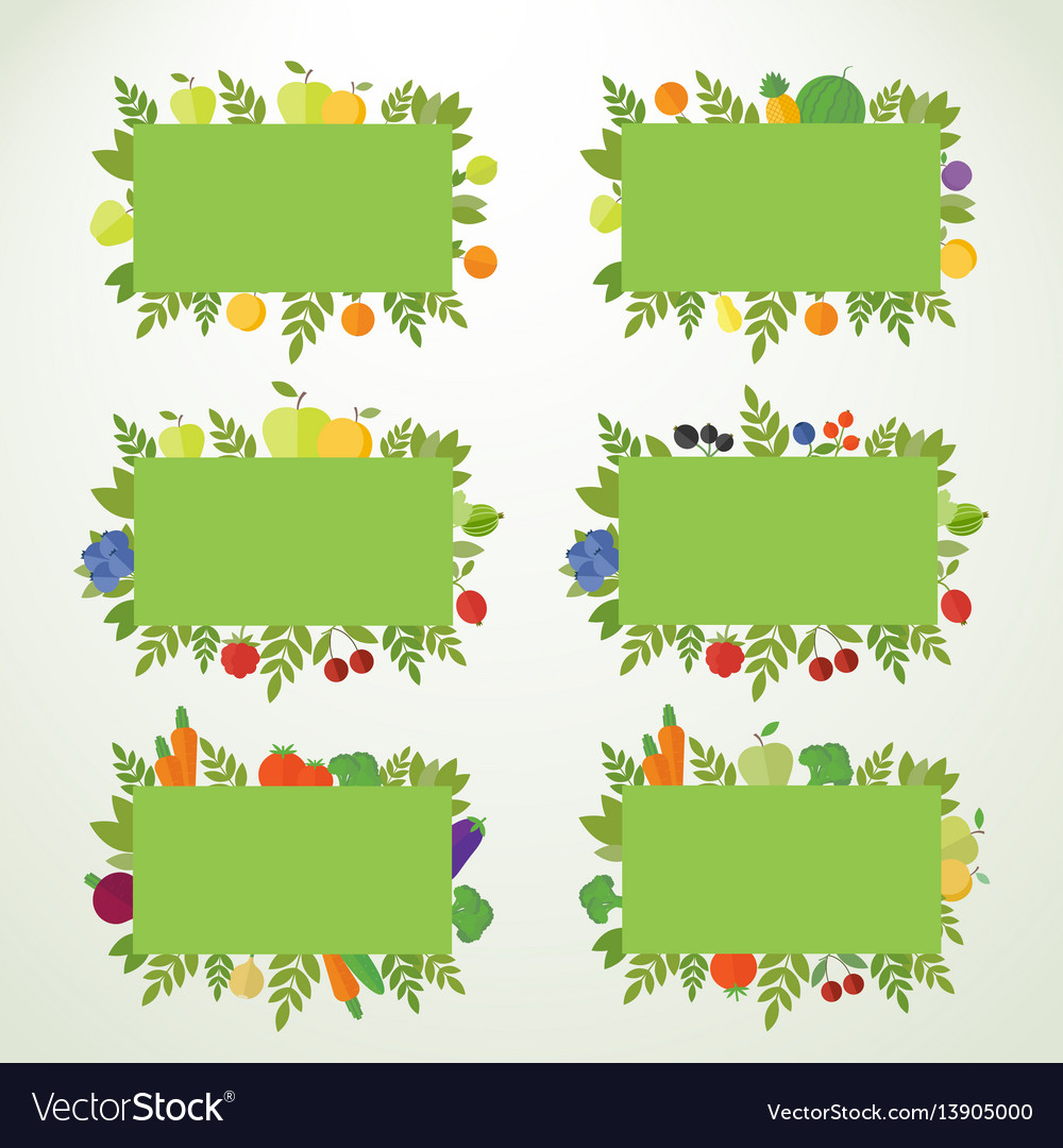 Banners with fruits berries and vegetables vector image