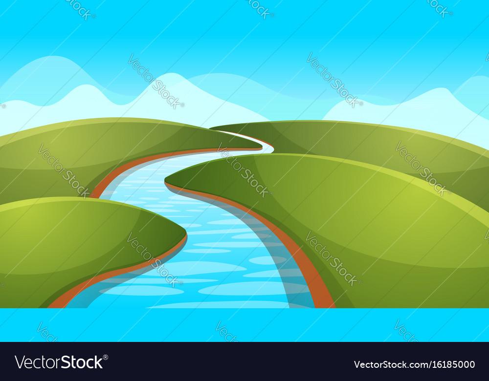 Landscape cartoon river sun hill vector image