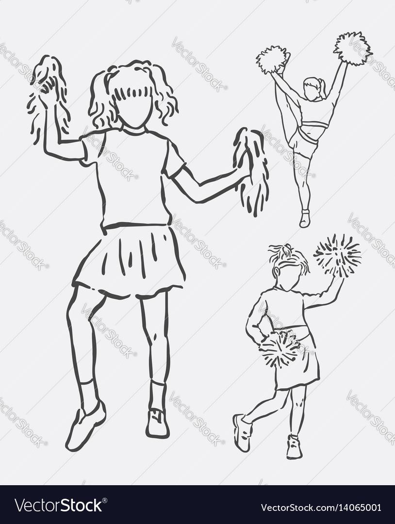 Cheerleader action sketches vector image