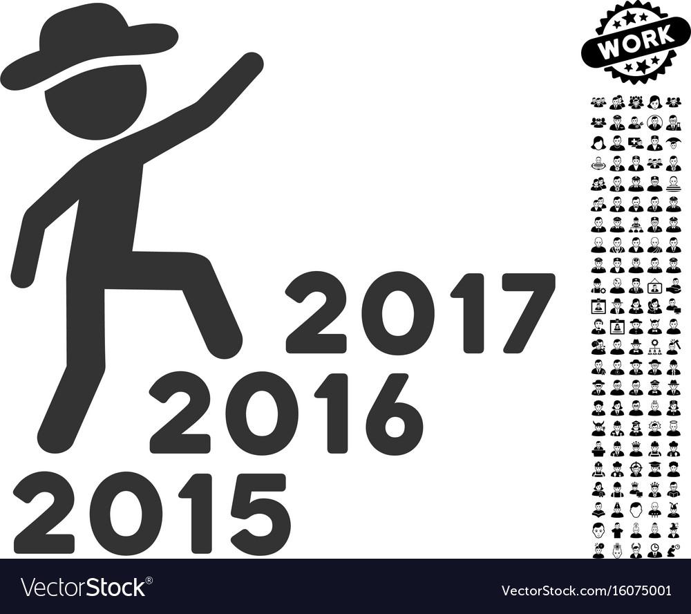Gentleman steps years icon with job bonus vector image