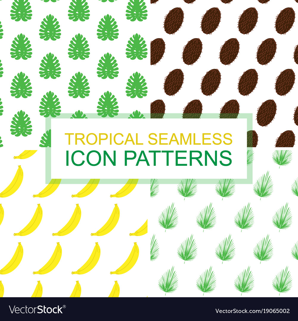 Set with patterns of tropical leaves and fruits vector image