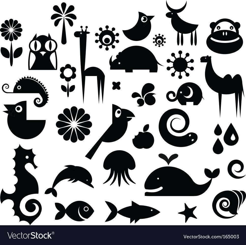 Animal icons Royalty Free Vector Image - VectorStock