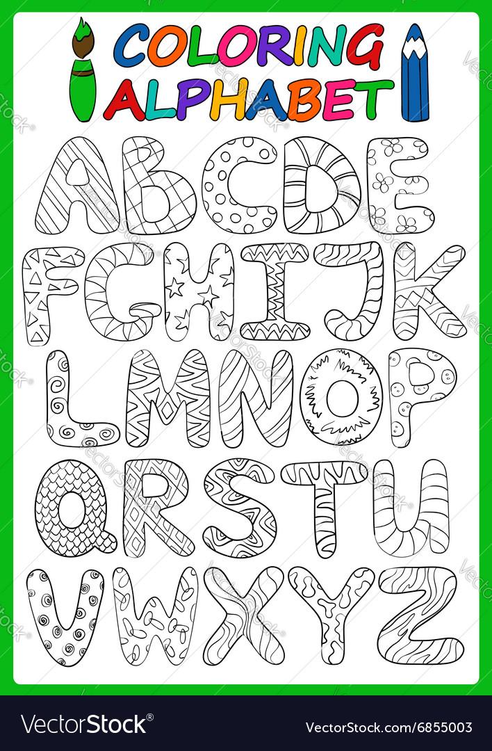 Coloring Children Alphabet With Cartoon Capital vector image