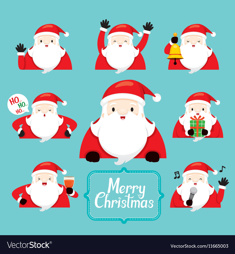 Santa Character With Different Actions set vector image