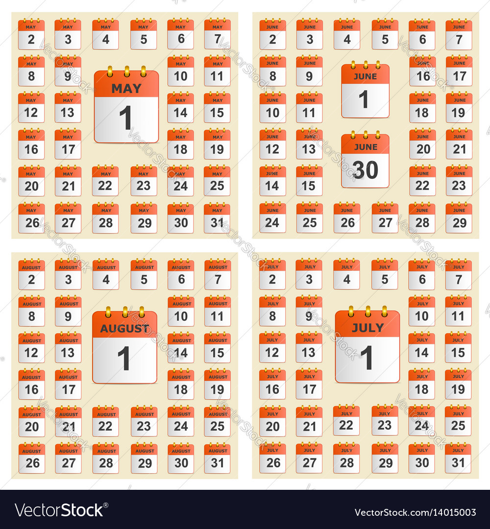 Universal set of wall calendar from may to august vector image