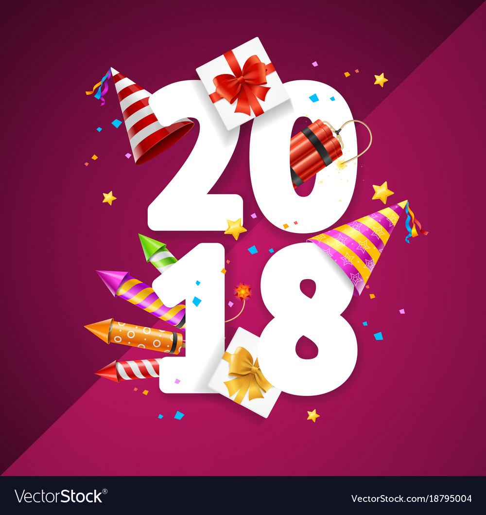 2018 happy new year greeting card concept vector image kristyandbryce Gallery