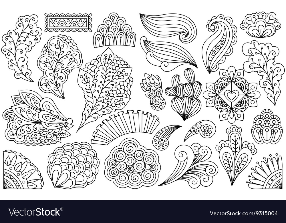 Ink drawing flowers vector image