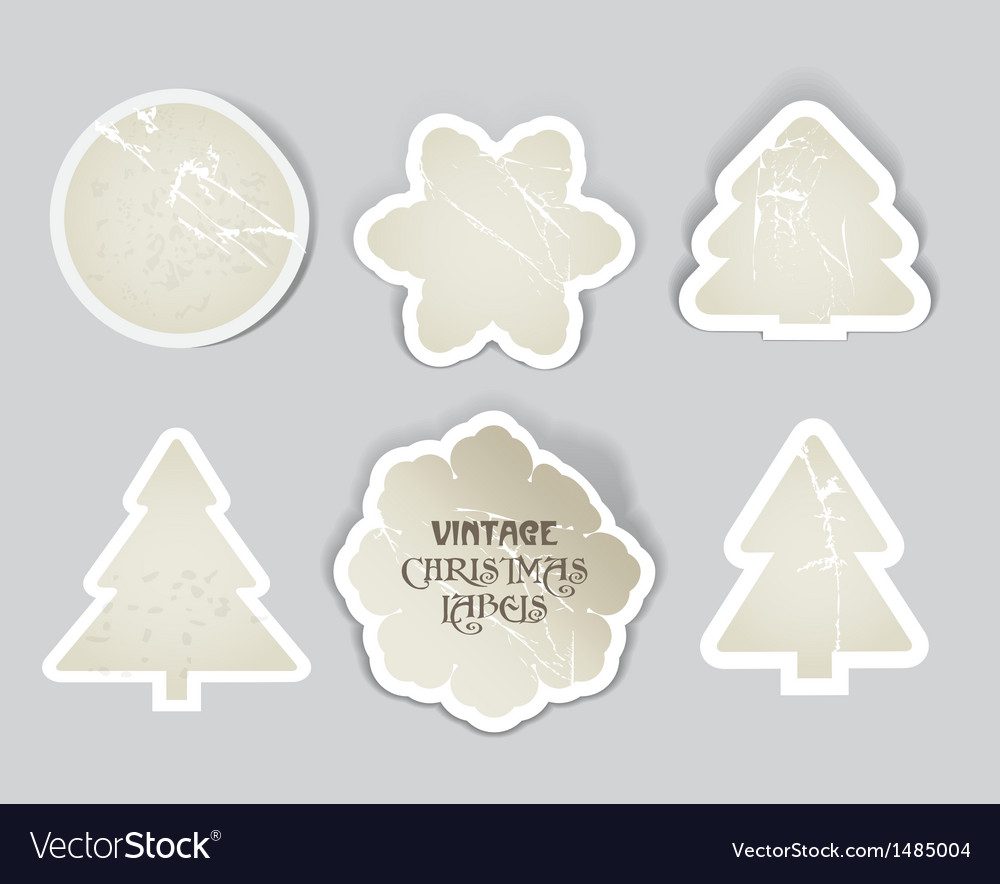Scratched vintage christmas style labels se vector image