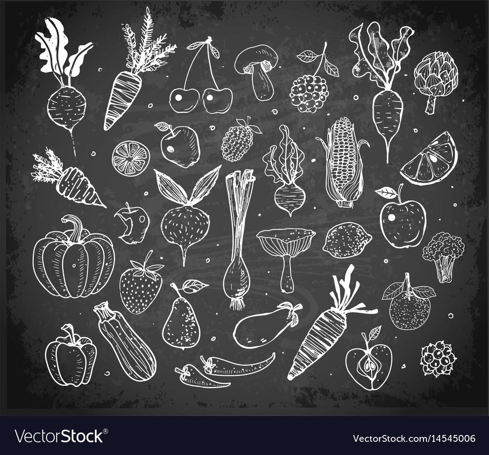 Doodle fruits and vegetables on blackboard vector image