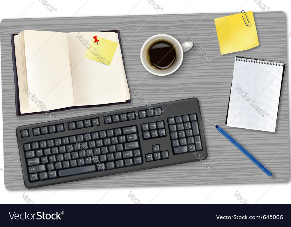 Phone and office supplies vector image