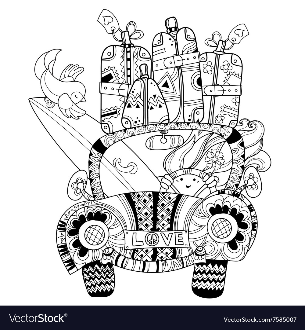 hand drawn doodle outline holiday car travel vector image