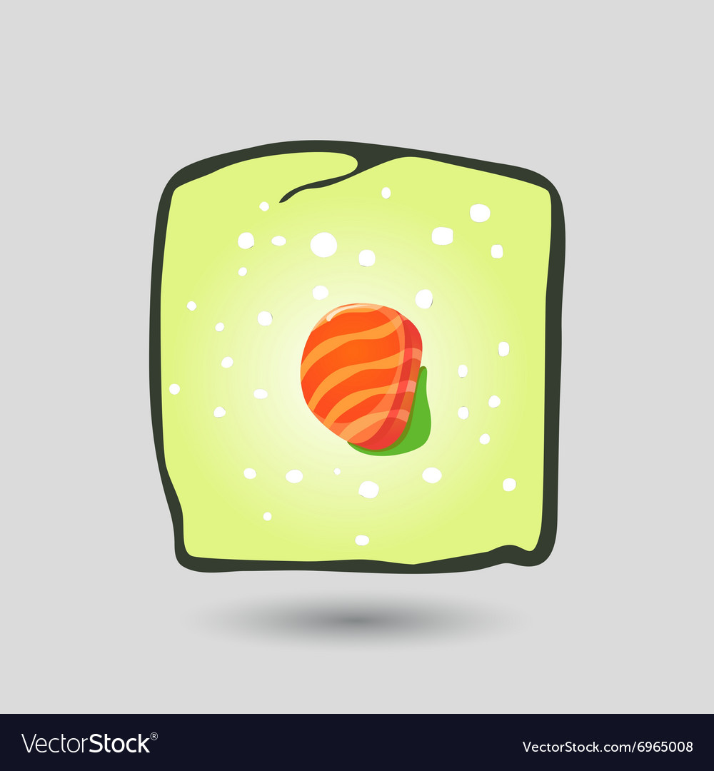 Flat sushi roll vector image