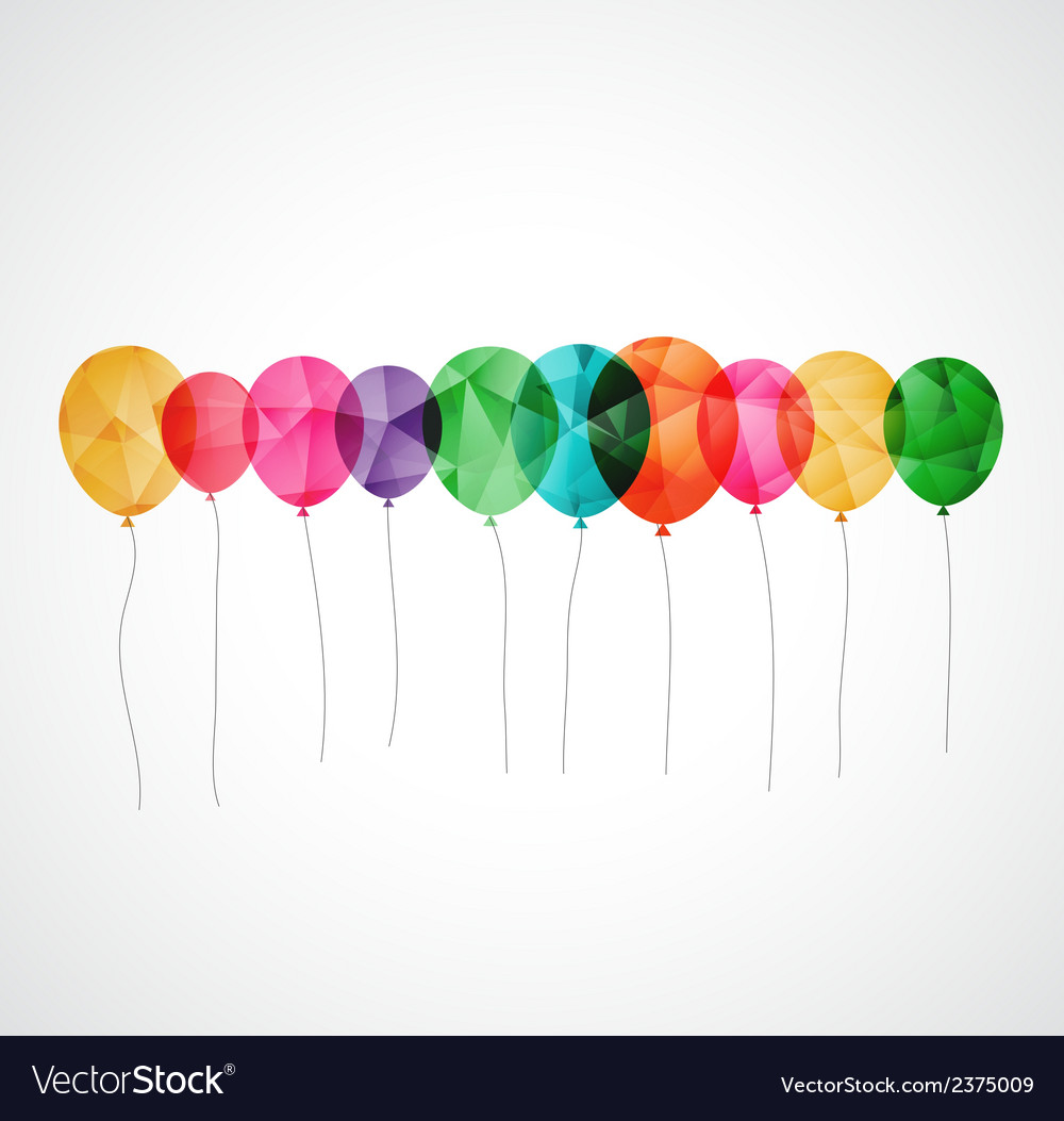 Birthday card with colorful transparent balloons vector image bookmarktalkfo Images