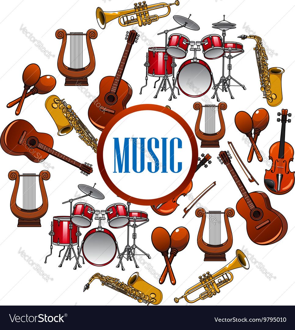 Collection of sound equipment or music instruments vector image