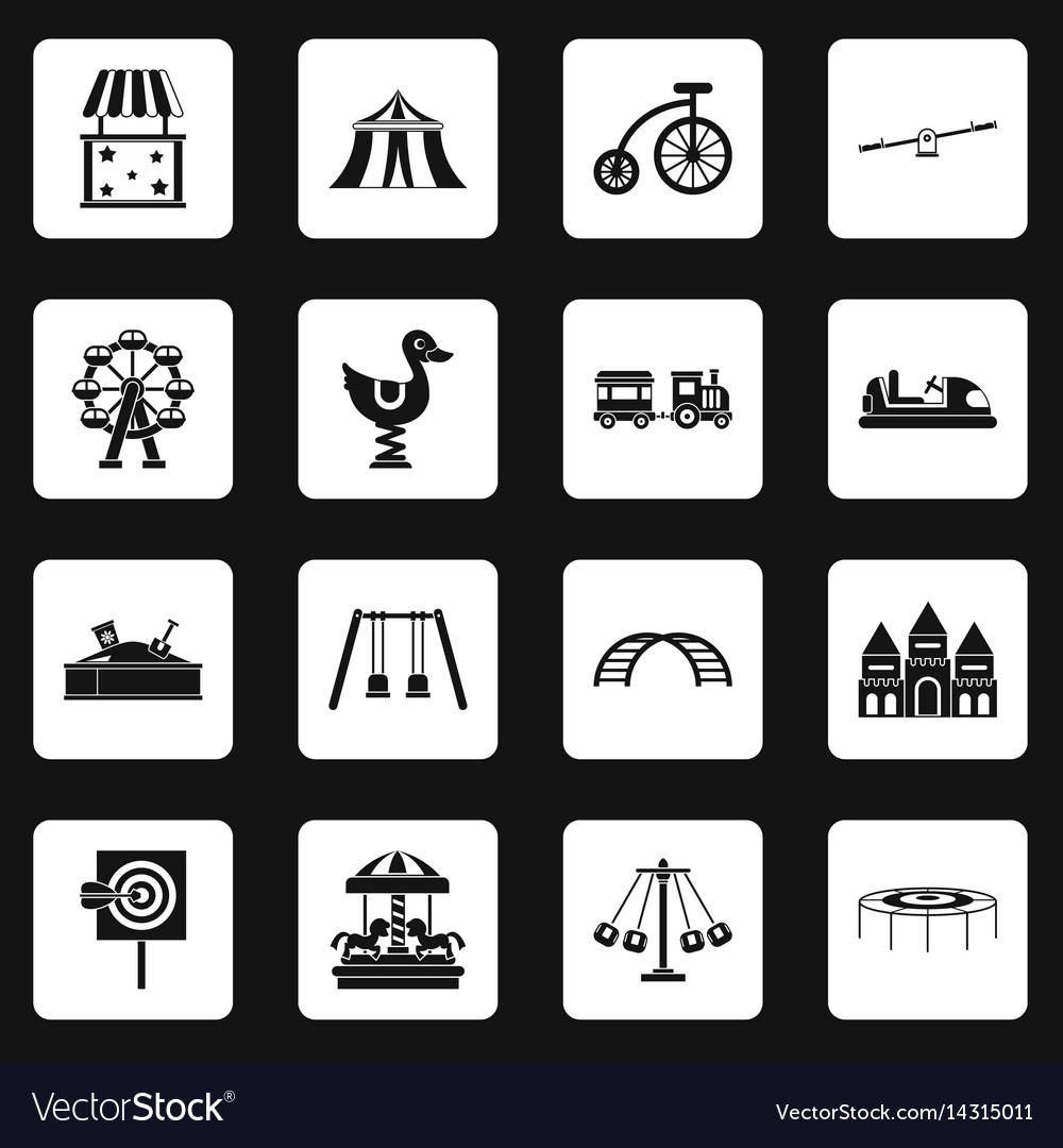 Amusement park icons set squares vector image