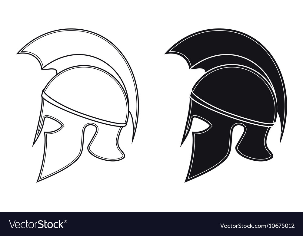 Ancient greek warrior helmet side silhouette vector image for Spartan mask template