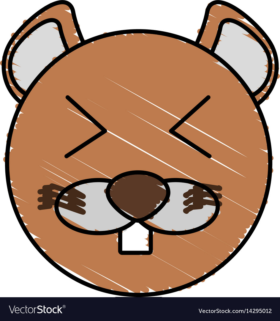 Drawing beaver face animal vector image