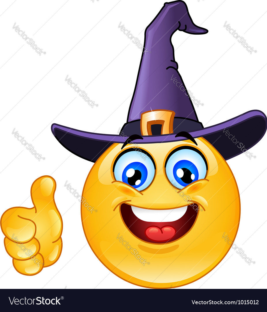 Emoticon with witch hat vector image