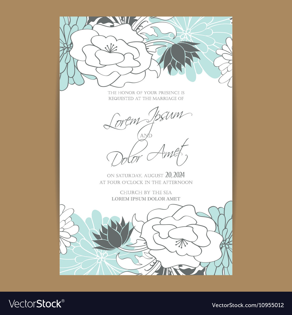 Wedding invitation card with blue white flowers Vector Image