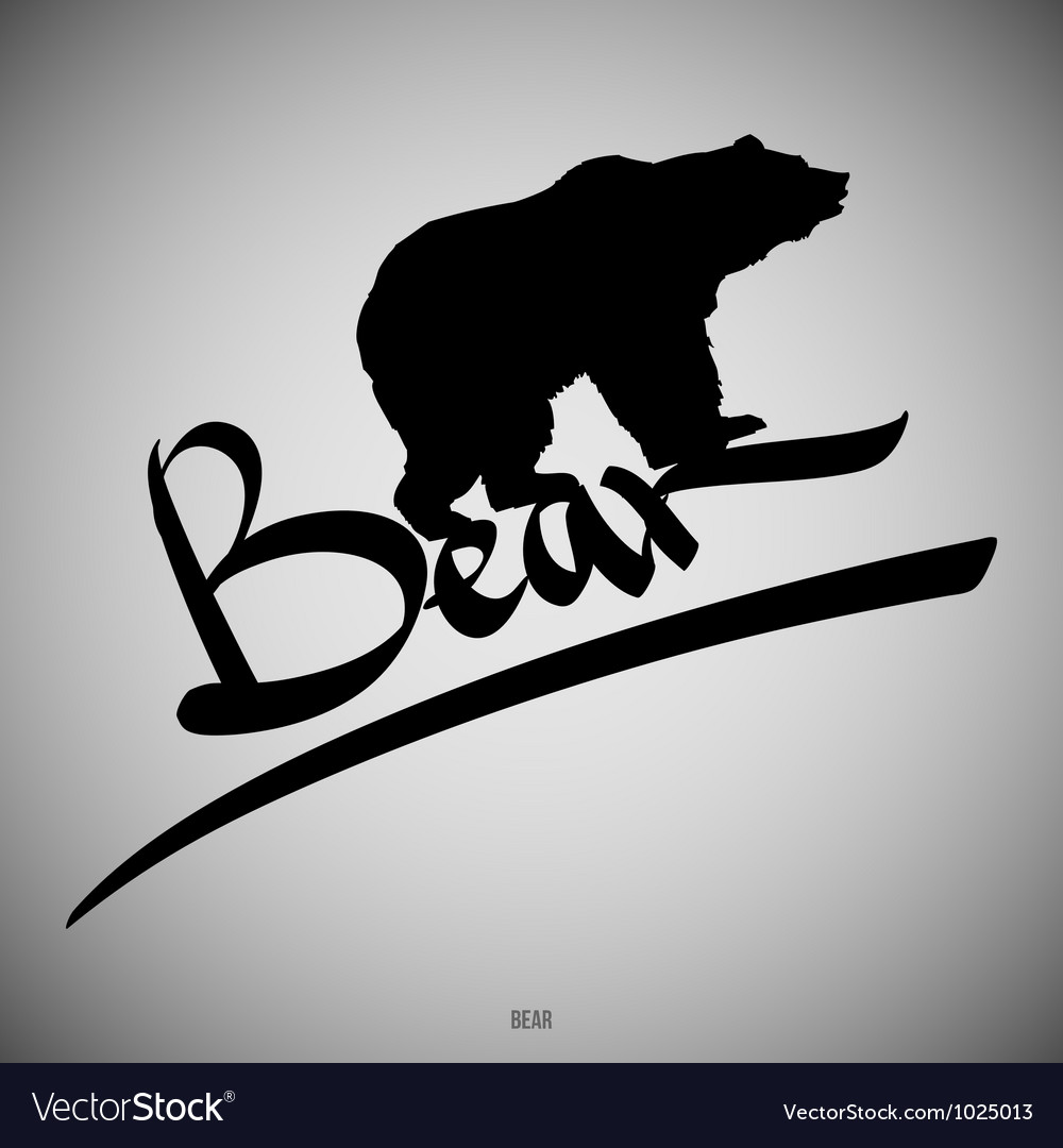 Bear Calligraphic elements vector image