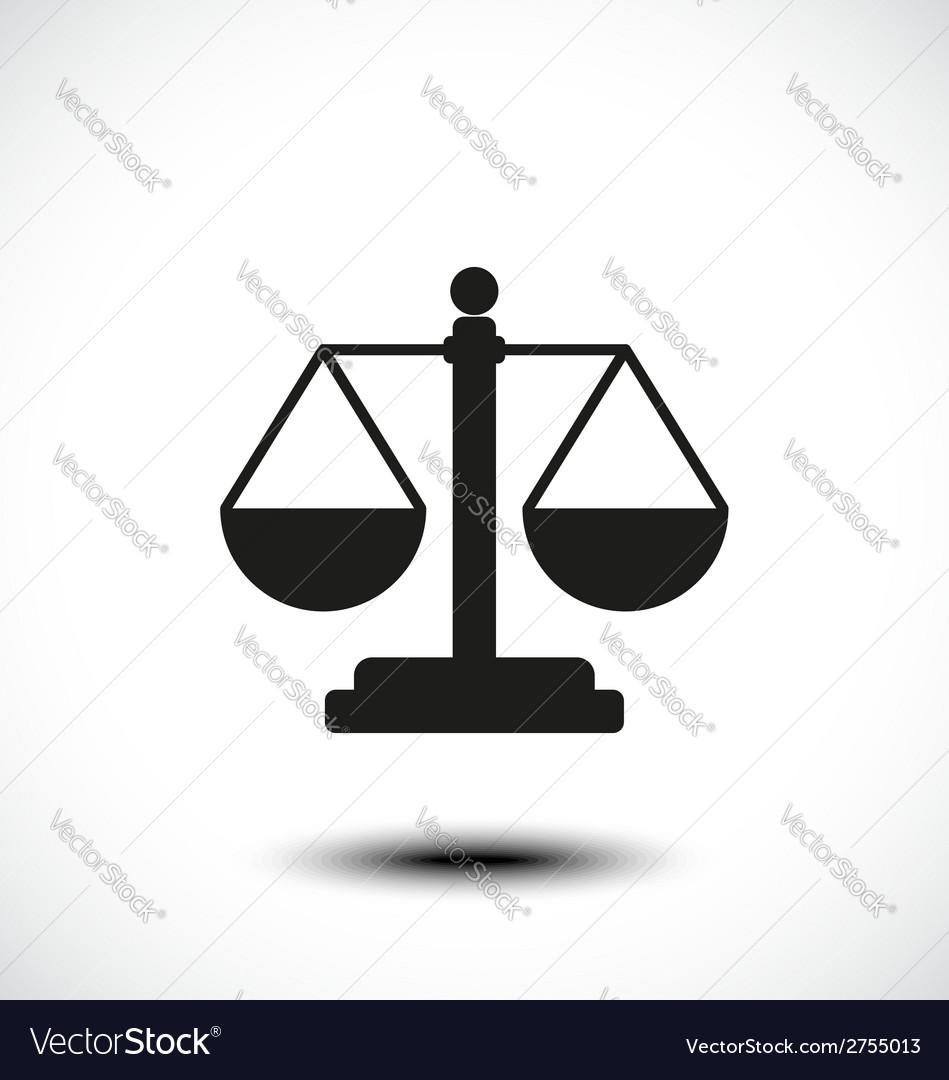 Law balance symbol justice scales icon vector image